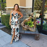 Deep Neck Floral Maxi Dress