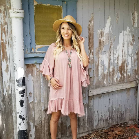 Off the Shoulder Bell Sleeve Dress