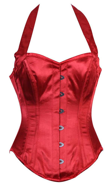 HALTER NECK RED SATIN