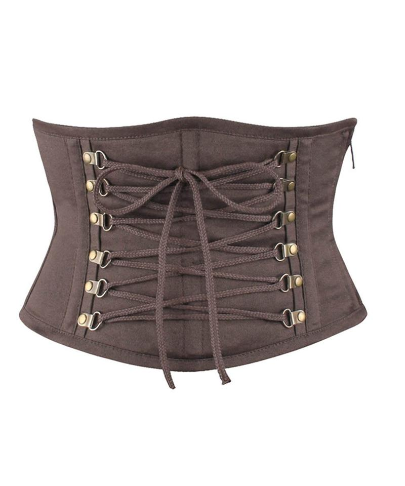 Emiliano Gothic Brown Cotton Underbust Corset