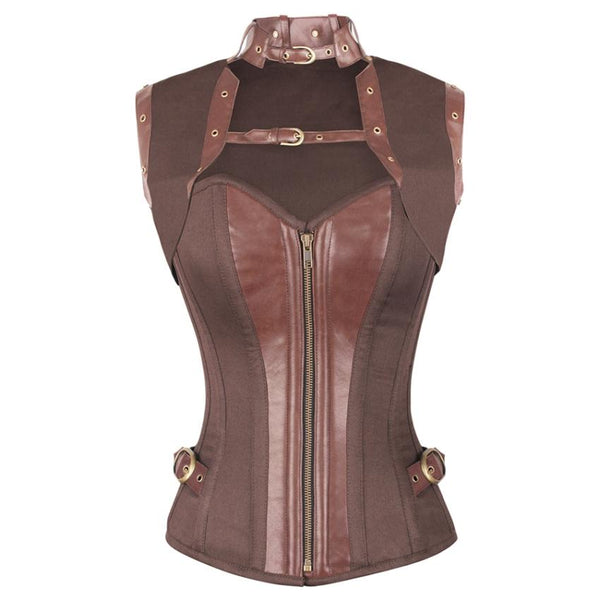 Neuss Steampunk Brown Cotton Corset with Shrug