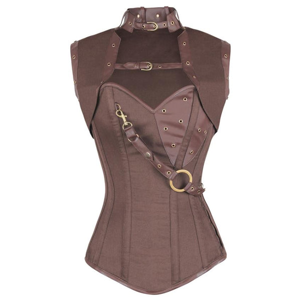 Niria Steampunk Brown Cotton Corset with Shrug