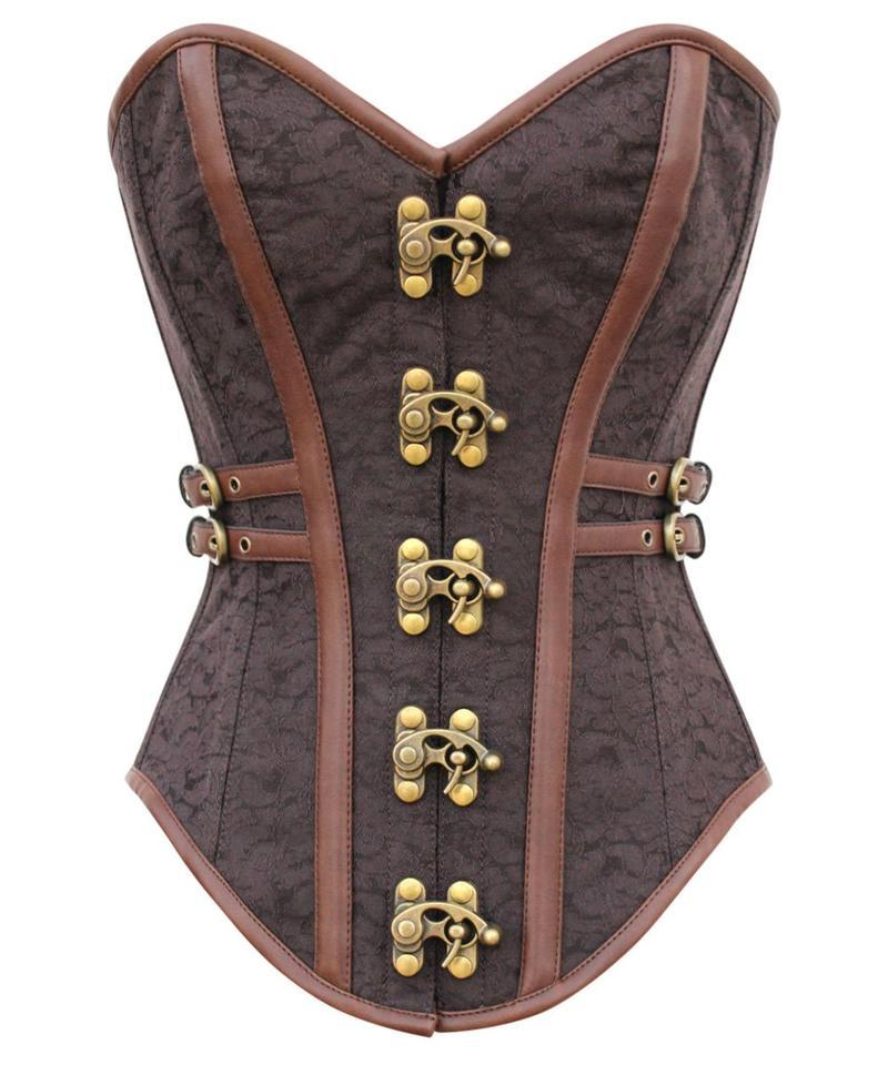 Dine Instant Shape Steampunk Brocade Corset with Side Buckles