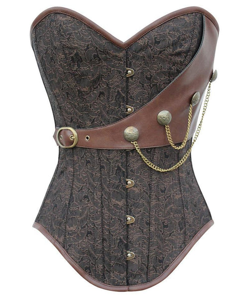 Amy Instant Shape Brocade Steampunk Corset with Chains