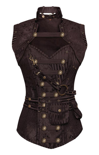 76578c602e Winslet Brown Steampunk Corset With Brown Removable Pouch