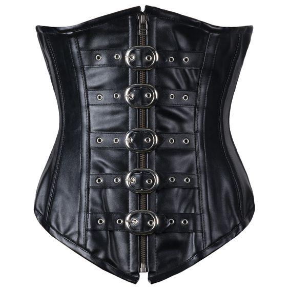Spurs Faux Leather Longline Underbust Corset