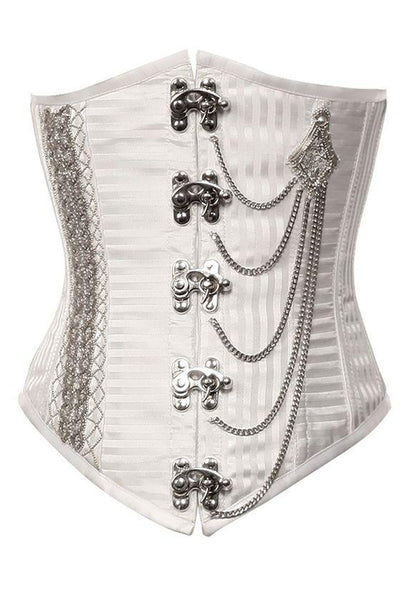 Currran White Stripe Underbust Corset With Silver Chain
