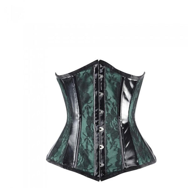 Signer Green Satin Underbust With Overlay And PVC Trim