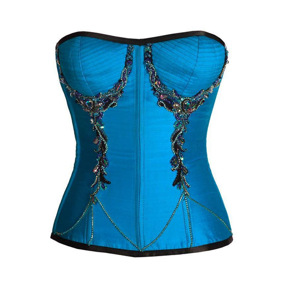 Ivan Turquoise Satin Overbust Couture Corset