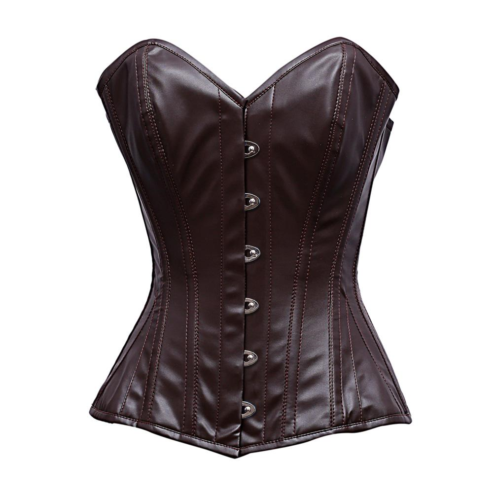 Albiol Steel Bone Brown Sheep Nappa Leather Corset