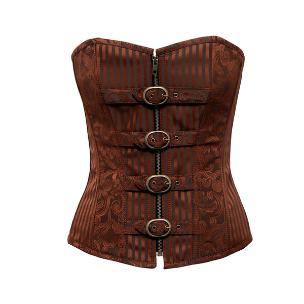 Amberr Coffee Brocade Overbust Corset With Buckle Details