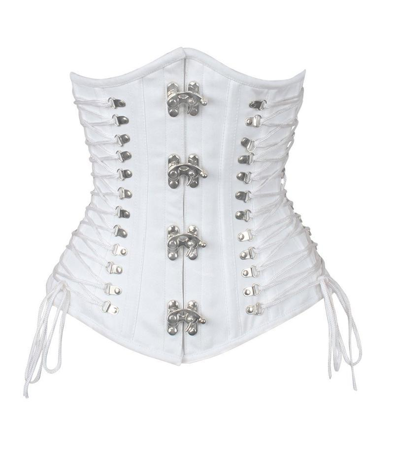 Vashti White Cotton Corset with Criss Cross