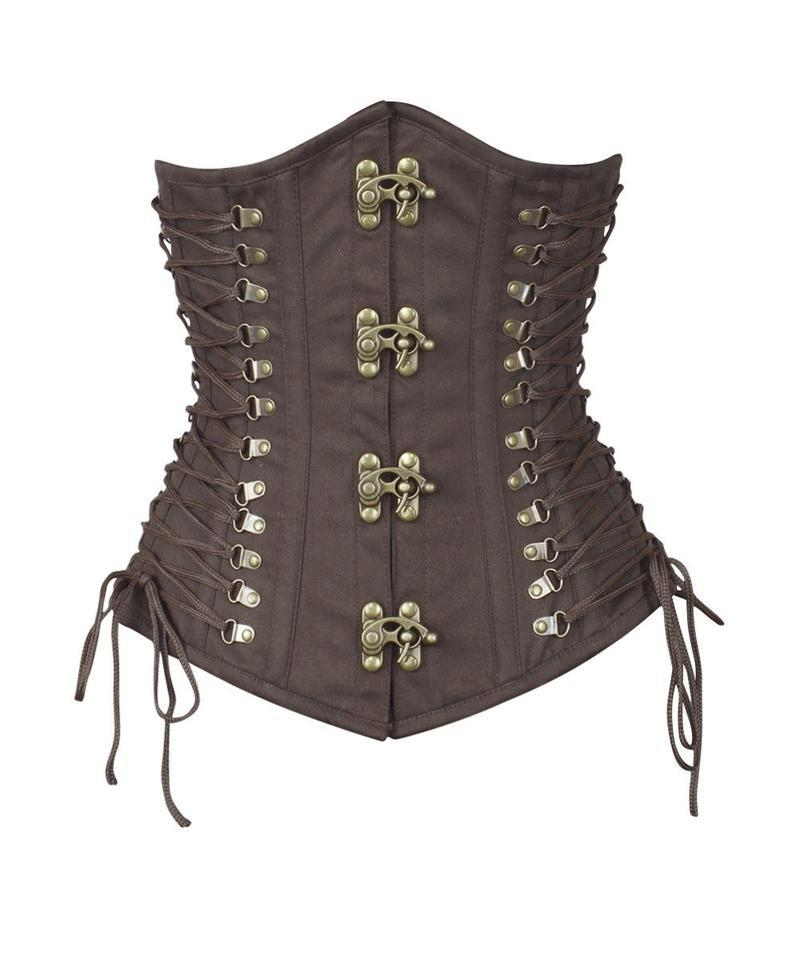 Liam Brown Steampunk Cotton Corset with Criss Cross