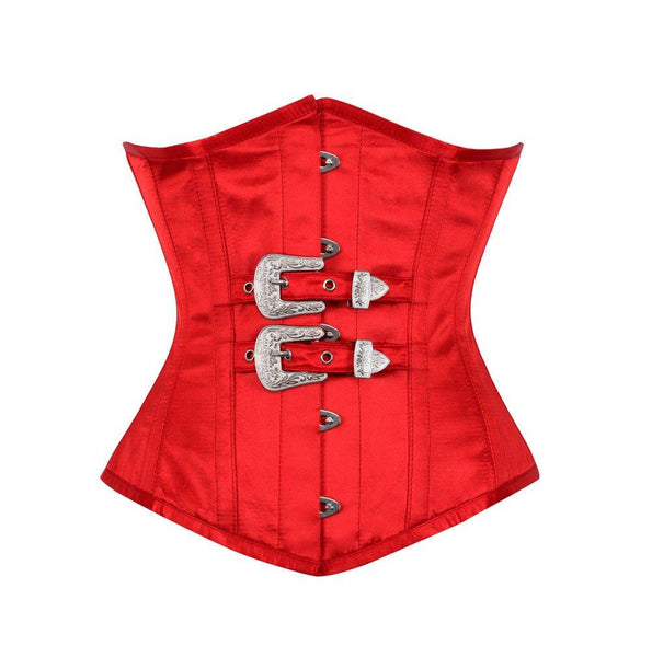 Cate Red Gothic Corset with Front Buckle
