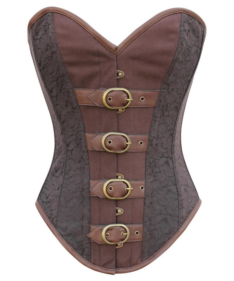 Britany Instant Shape Steampunk Buckle Up Overbust Black Corset