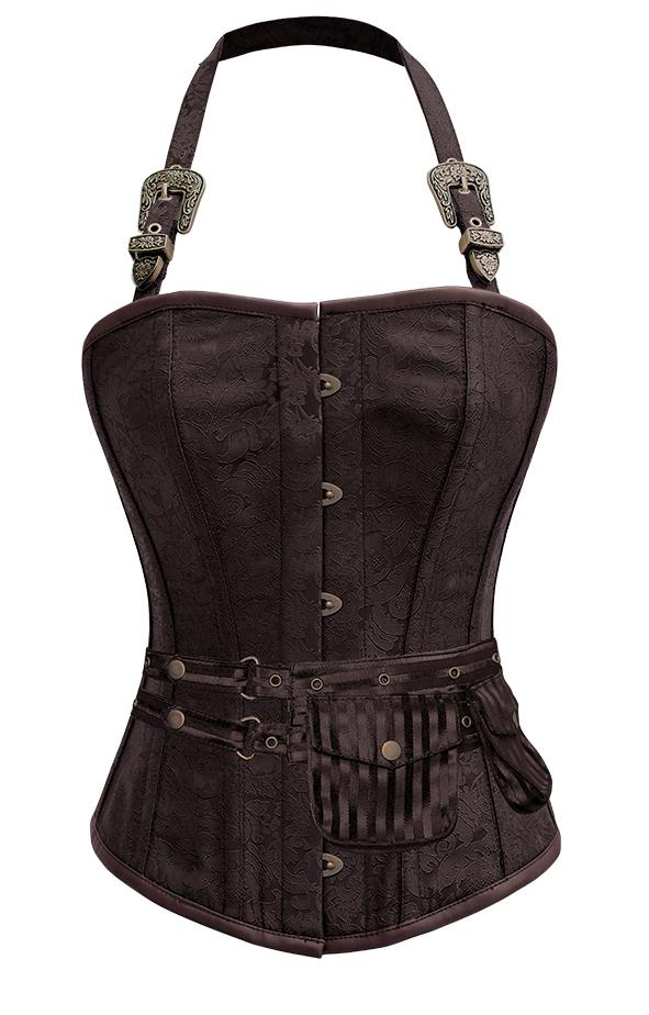 Mulligan Brown Corset with Strap and Pouch