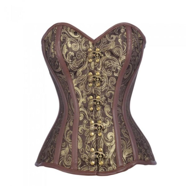 Carbonero Brown And Gold Brocade Steampunk Corset