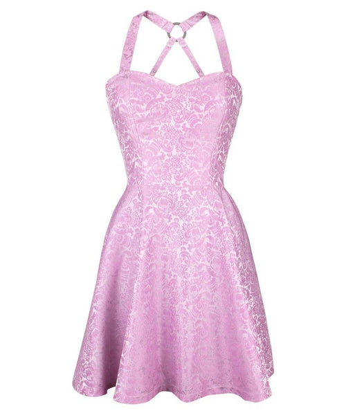 Cadel Pink Skater Dress in Brocade