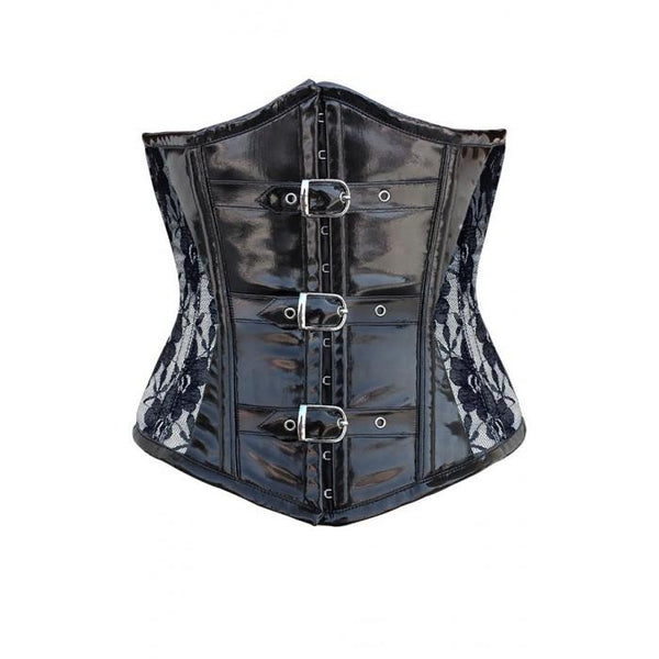 Carrick Ivory Corset With Black Lace Overlay And PVC Front
