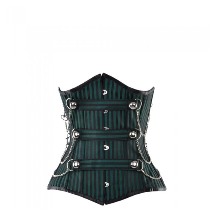 Marshlee Black And Green Striped Underbust With Chains