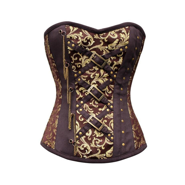 Bloncos Brown Brocade Steampunk Overbust Corset