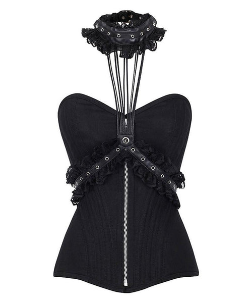 Fina Cotton Overbust Black Corset With Neck Gear