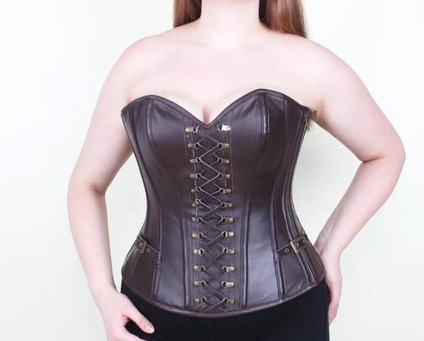 Camelia Leather Steampunk Overbust Corset
