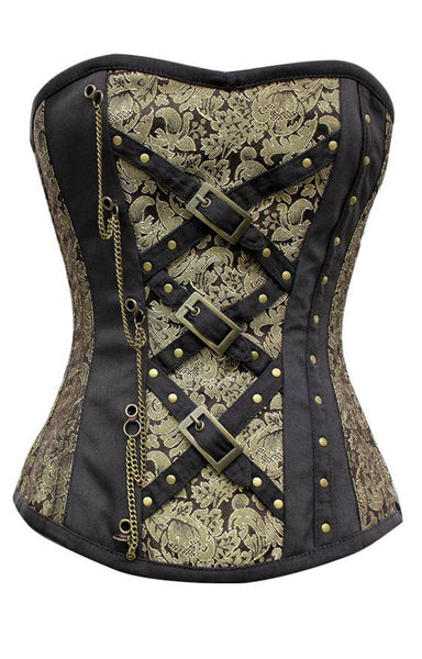 Elctra Gold Black Brocade Corset With Chain