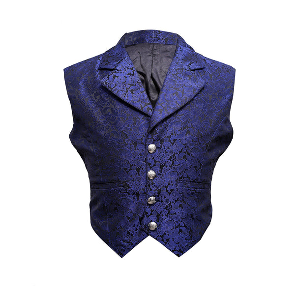 Gabigol Blue Brocade Waist Coat