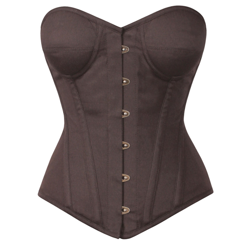 Norton Cotton Brown Overbust Corsets with Cups