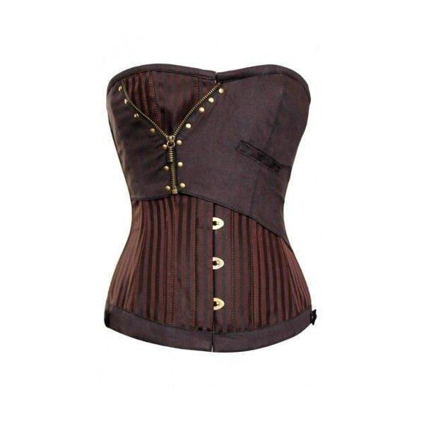 Sally Brown Jaquard Corset With Zip Detail