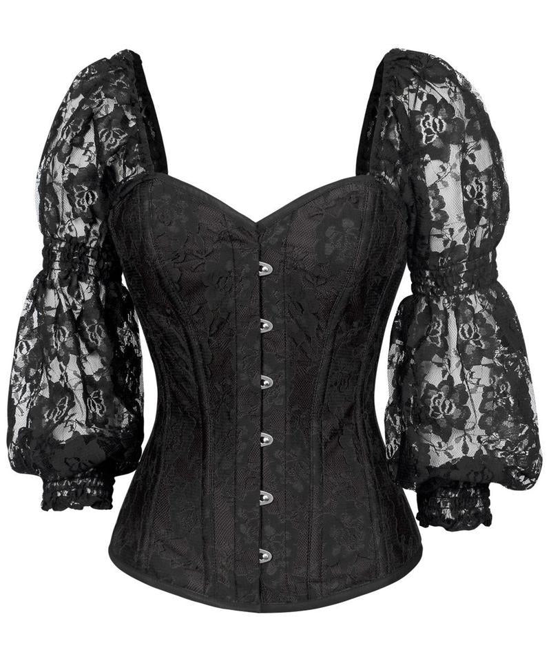 Shayk Lace Overlay Black Overbust Corset with Attached Sleeve