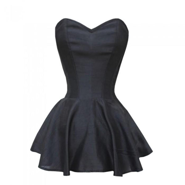 Alexis Black Satin Peplum Corset Dress