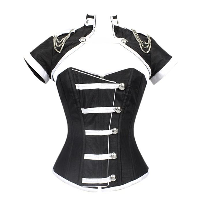 Arjen Black Corset With Button Down Placket And Jacket