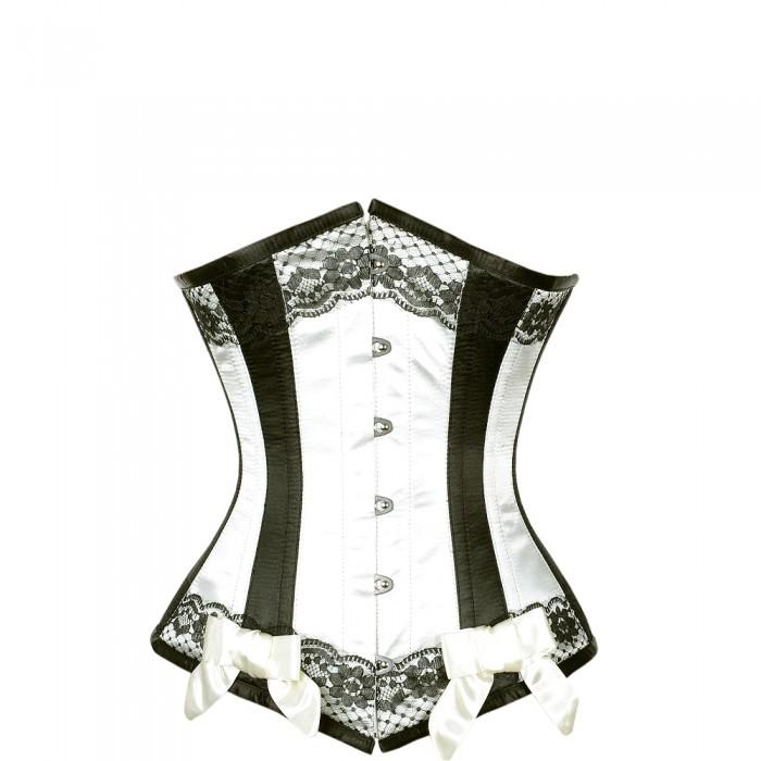 Bruyne Ivory Satin Underbust With Black Panels