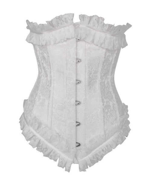 Achaia Spiral Steel Boned White Underbust Corset with Lace Frill - Corsets Queen US-CA