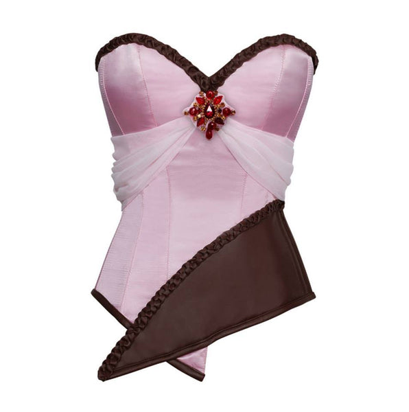 Adrion Pink Satin & Faux Leather Braided Trimming Corset