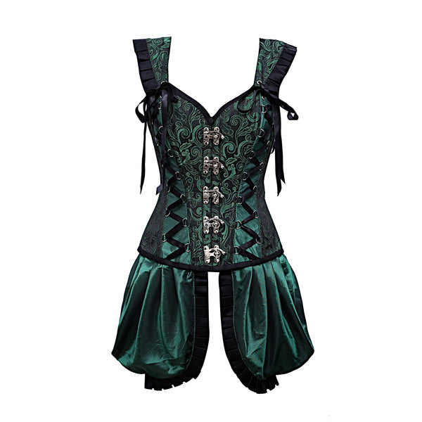 Agustina Green Shoulder Straps Corset With Gathered Satin