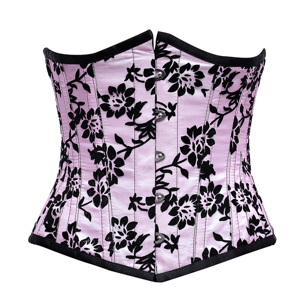 Gielnik Pink Underbust Corset In Tissue Flocking