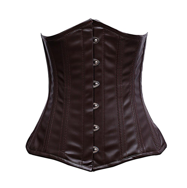 Zaffrey Steel Boned Brown Faux Leather Corset