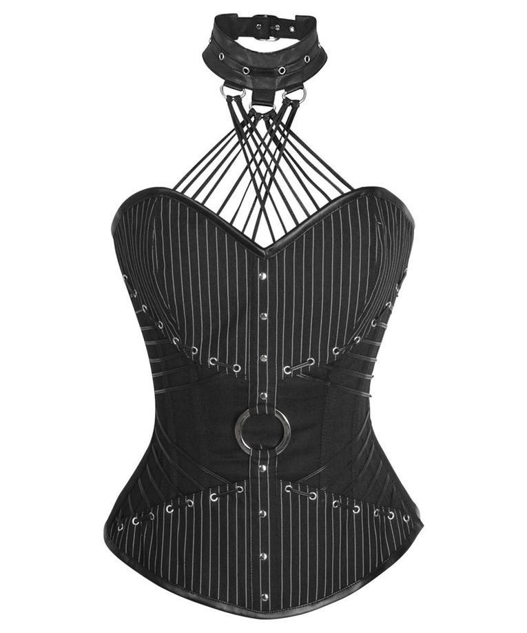 Adien Gothic Overbust Corsets with Attached Neck Gear