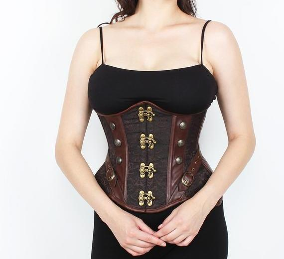 Audre Steampunk Brocade Curvy Corset with Metal Clasp
