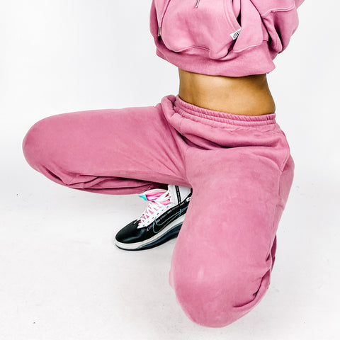 """C.L.U.B"" MAUVE SWEATSUIT BOTTOMS"