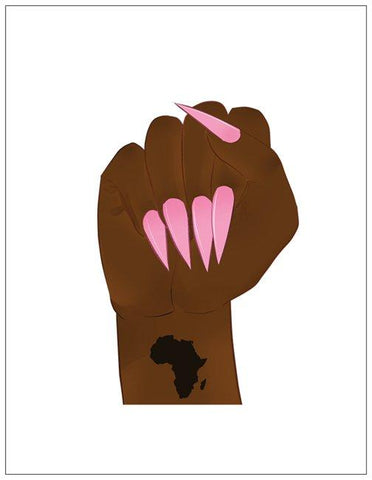 Black Power Fist w/ Nails Greeting Card