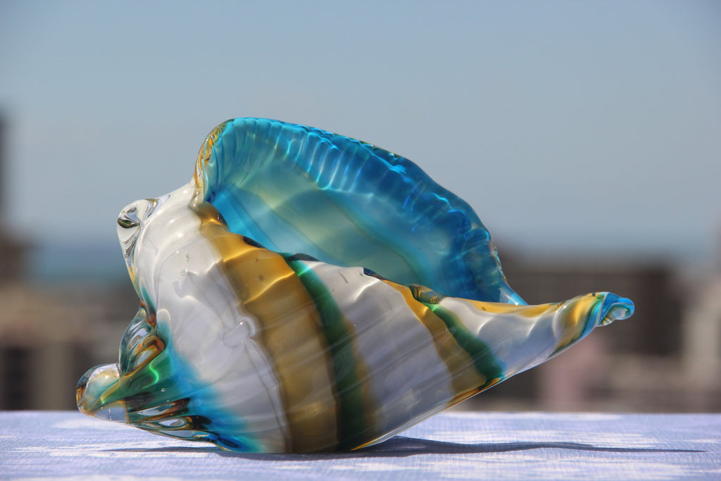 Sea Conch in Blue, White and Yellow