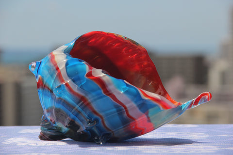 Sea Conch in Red, White and Blue
