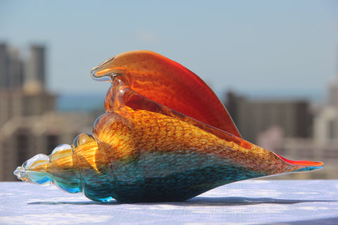 Sea Conch in Red, Yellow and Green