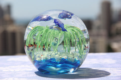 Beautiful Ocean Crystal Ball in Blue and Green