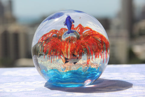 Beautiful Ocean Crystal Ball in Blue and Red