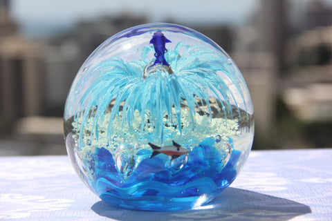 Beautiful Ocean Crystal Ball in Ocean and Sky Blue